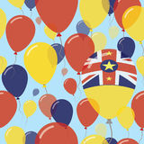 Niue National Day Flat Seamless Pattern. Flying Celebration Balloons in Colors of Niuean Flag. Happy Independence Day Background with Flags and Balloons Royalty Free Stock Photography