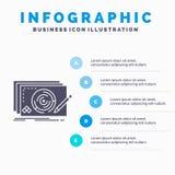 Nivå, design, ny, färdig modig Infographics mall för Website och presentation Gr? symbol f?r sk?ra med bl? infographic stil royaltyfri illustrationer