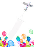 Nivå för enkel motor med banret och ballonger Royaltyfri Fotografi