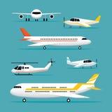 Nivå ljusa Jet Objects Flat Design Set Arkivbilder