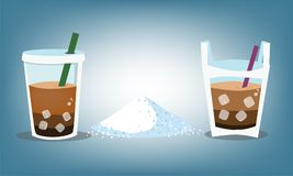 Nivåer av socker i kaffeexponeringsglas- eller vattenpåse Royaltyfri Foto