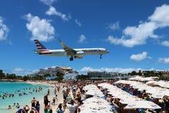 Nivålandning för St Maarten Maho Beach Royaltyfri Foto