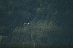 Nivån flyger över skogen fotografering för bildbyråer