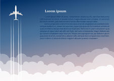 Nivån flyger upp mot bakgrunden av moln vektor illustrationer