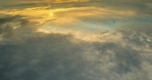 Niv?n flyger i stackmolnmolnen av daghimlen, en h?rlig tidschackningsperiod med en flyganiv?