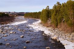 The Niva river in early may stock photo