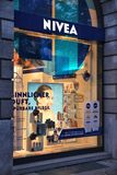 Nivea company, Germany. BERLIN, GERMANY - AUGUST 26, 2014: Nivea store in Unter den Linden, Berlin. Nivea is a brand of Beiersdorf, German personal care company Royalty Free Stock Photos