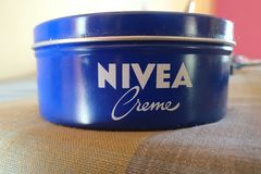 NIVEA CREAM BODY MAKEUP royalty free stock photo
