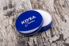 Nivea Creme on wooden Stock Photo