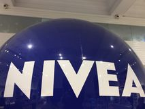 Nivea merchandising. Berlin, Germany - November 30, 2017: Nivea merchandising. Nivea is a global skin- and bodycare brand that is owned by the German company Stock Photos