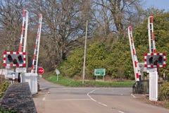 Niveauübergang in mittlerem Devon Großbritannien Lizenzfreies Stockfoto