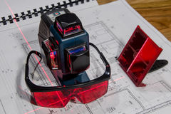 Niveau croisé de laser Photographie stock libre de droits