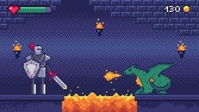 Niveau de jeu d'art de pixel Le guerrier de héros combat 8 dragons mordus, paysage de scène de niveaux de jeux vidéo de pixels et illustration stock