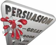 Niveau de mesure de thermomètre de persuasion d'influence d'une façon convaincante Photo stock