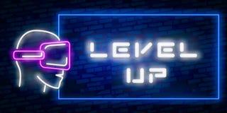 Niveau vers le haut du vecteur au néon des textes avec le fond de mur de briques nuit au néon d'enseigne de tendance de calibre d illustration libre de droits
