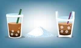 Niveaus des Zuckers in der Kaffeeglas- oder -wassertasche Lizenzfreies Stockfoto