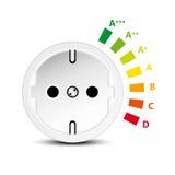 Niveaux de rendement énergétique avec la prise Photographie stock libre de droits