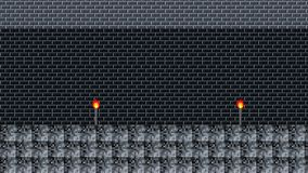 nivel de 8 bits de un viejo videojuego en un lazo inconsútil del castillo