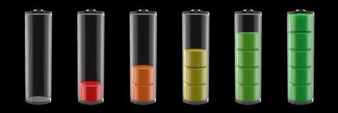 Nivel de la batería a partir de la 0% a 100% Imágenes de archivo libres de regalías