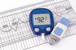 Nivel de la glucosa en sangre de la prueba Foto de archivo