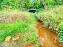 Nivel del agua baja, afluencia vacía del río Agua horrible fangosa del olor imagen de archivo