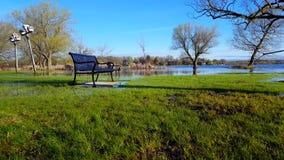 Nivel del agua de levantamiento cada vez mayor en naturaleza Resultado del cambio de clima Parque inundado despu?s de la tormenta almacen de video