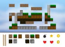 Nivel del juego de arcada del ordenador. Cubos, escalera, iconos. ilustración del vector