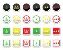 Nivel fácil, medio, duro con los iconos de las estrellas fijados Imagen de archivo libre de regalías