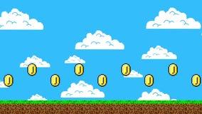 Nivel retro del videojuego con un rastro de las monedas de oro ilustración del vector