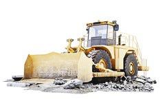 Niveladora en un sitio de la construcción de edificios con ruina Fondo blanco libre illustration