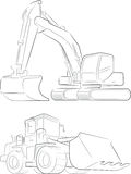 Niveladora y excavador Vector Line Art ilustración del vector