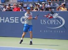 As práticas de Andy Murray do campeão do grand slam para E.U. abrem no rei Nacional Tênis Centro de Billie Jean Fotografia de Stock Royalty Free