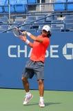 As práticas profissionais de Fernando Verdasco do jogador de ténis para E.U. abrem Foto de Stock Royalty Free