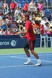 Dezessete práticas de Roger Federer do campeão do grand slam das épocas para E.U. abrem no rei Nacional Tênis Cente de Billie Jean Imagens de Stock Royalty Free