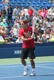 Dezessete práticas de Roger Federer do campeão do grand slam das épocas para E.U. abrem no rei Nacional Tênis Cente de Billie Jean Foto de Stock