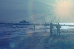 Nivelamento ventoso dos pescadores do ponto da pesca do ponto de New York City Imagens de Stock Royalty Free