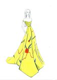 Nivelando o vestido amarelo Fotografia de Stock