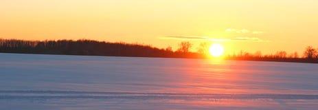 Nivelando a paisagem do inverno com neve branca e o sol alaranjado fotografia de stock