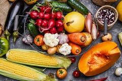 Żniw warzywa z zielarskim kuchennym ogródem fotografia stock