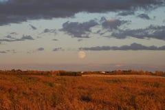 Żniwo księżyc Nad preriami Obrazy Royalty Free