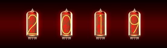 Nixie管有数字的显示器灯 向量例证