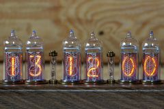 Nixie Clock - a clock on the gas-discharge indicators. royalty free stock image