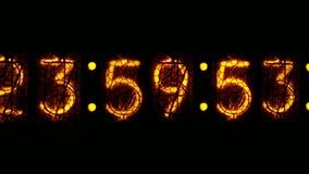 Nixie digital clock D. Digital clock countdown to midnight vector illustration