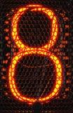 Nixie rörindikator, närbild för lampgas-urladdning indikator Nummer åtta av retro framförande 3d Royaltyfria Bilder