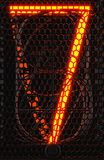 Nixie rörindikator, närbild för lampgas-urladdning indikator Nummer sju av retro framförande 3d Royaltyfri Bild