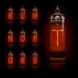 Nixie tube alphabet k to t Stock Images