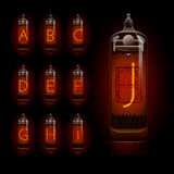 Nixie tube alphabet a to j. EPS 10 file Royalty Free Stock Photos