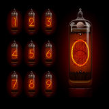 Nixie tube with digits Stock Images
