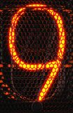 Nixie tube indicator, lamp gas-discharge indicator close-up. Number nine of retro. 3d rendering.  royalty free stock photos