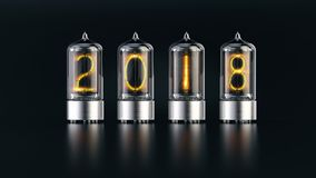 Nixie tube indicator with 2018 new year numbers on dark background stock illustration